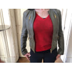 Leather Jacket MICHAEL KORS Khaki