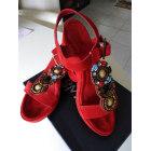 Sandales compensées REQINS Rouge, bordeaux