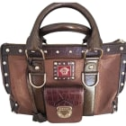 Leather Handbag VERSACE Brown