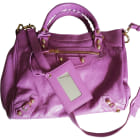 Leather Shoulder Bag BALENCIAGA Purple, mauve, lavender