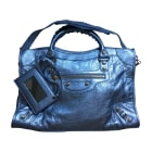 Leather Handbag BALENCIAGA City Silver