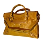 Leather Handbag BALENCIAGA City Yellow
