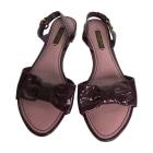 Flat Sandals LOUIS VUITTON Purple, mauve, lavender