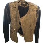 Leather Zipped Jacket MAJE Silver
