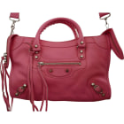 Leather Shoulder Bag BALENCIAGA City Pink, fuchsia, light pink