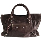 Leather Handbag BALENCIAGA City Brown