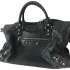 Leather Shoulder Bag BALENCIAGA City Gray, charcoal