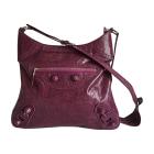 Leather Shoulder Bag BALENCIAGA Purple, mauve, lavender