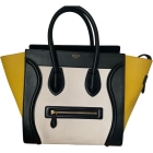 Sac à main en cuir CÉLINE Luggage Blanc noir jaune
