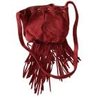 Leather Shoulder Bag MAJE Red, burgundy