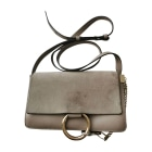 Leather Shoulder Bag CHLOÉ Faye Gray, charcoal