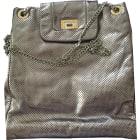 Leather Shoulder Bag CHANEL Silver