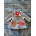 Manteau CATIMINI Blanc, noir motifs roses/corail