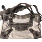 Leather Handbag BALENCIAGA City Gray, charcoal