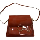 Leather Shoulder Bag CHLOÉ Faye Red, burgundy
