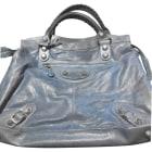 Leather Handbag BALENCIAGA Part Time Blue, navy, turquoise