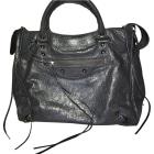 Leather Handbag BALENCIAGA Gray, charcoal