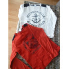 Tee-shirt PETIT BATEAU ecru et rouge