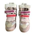 Sneakers ISABEL MARANT beige rosé et beige avec touches de pourpre,rouge et rosé