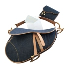 Non-Leather Shoulder Bag DIOR Saddle Blue, navy, turquoise
