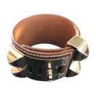Bracelet HERMÈS Collier de Chien Brun naturel aligator