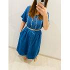 Robe longue VINTAGE Bleu, bleu marine, bleu turquoise
