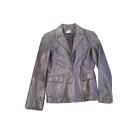 Veste en cuir CLAUDIE PIERLOT Bleu, bleu marine, bleu turquoise