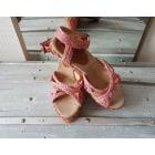 Sandales compensées KICKERS Rose, fuschia, vieux rose