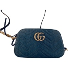 Non-Leather Shoulder Bag GUCCI Marmont Blue, navy, turquoise