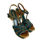 Sandales compensées YVES SAINT LAURENT Bleu canard