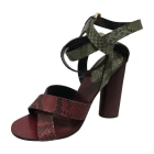 Heeled Sandals GUCCI Red, burgundy