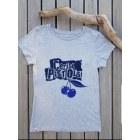 Top, Tee-shirt LE TEMPS DES CERISES gris et imprimé bleu