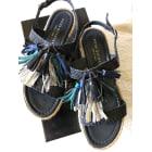 Sandales compensées PONS QUINTANA Bleu, bleu marine, bleu turquoise