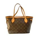 Sac à main en cuir LOUIS VUITTON Neverfull Marron