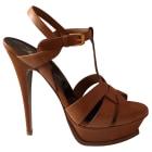 Heeled Sandals YVES SAINT LAURENT Tribute Golden, bronze, copper