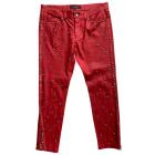 Pantalon slim, cigarette ISABEL MARANT Rouge, bordeaux