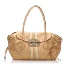 Leather Shoulder Bag PRADA Brown