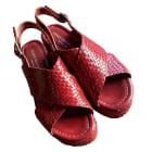 Sandales compensées PONS QUINTANA Rouge, bordeaux