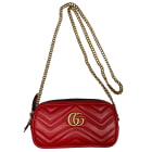 Leather Shoulder Bag GUCCI Marmont Red, burgundy