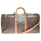 Leather Shoulder Bag LOUIS VUITTON Keepall Brown