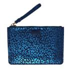 Sac pochette en cuir MAJE Bleu, bleu marine, bleu turquoise
