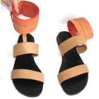 Sandales plates  MARITHÉ ET FRANÇOIS GIRBAUD Marron clair corail et rose framboise