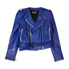 Veste en cuir BALMAIN Bleu, bleu marine, bleu turquoise