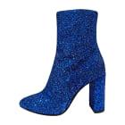 Bottines & low boots à talons SAINT LAURENT Bleu, bleu marine, bleu turquoise