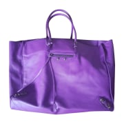 Leather Handbag BALENCIAGA Papier Purple, mauve, lavender