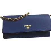 Leather Clutch PRADA Blue, navy, turquoise