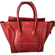 Leather Handbag CÉLINE Red, burgundy