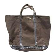 Non-Leather Oversize Bag VANESSA BRUNO tissu Taupe et paillettes gris Acier