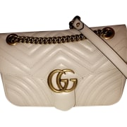 Leather Handbag GUCCI Marmont Beige, camel