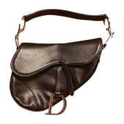 Leather Handbag DIOR Saddle Black